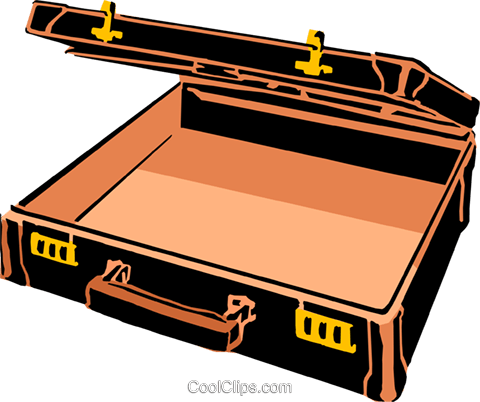 Open Briefcase Royalty Free Vector Clip Art illustration.