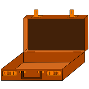 Open briefcase in brown clipart, cliparts of Open briefcase.