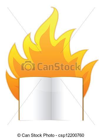 Clip Art Vector of censorship concept burning book illustration.
