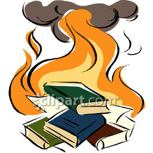 A book burning with books on fire.