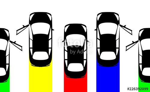 Big set collection black cars top view. Sport car door open.