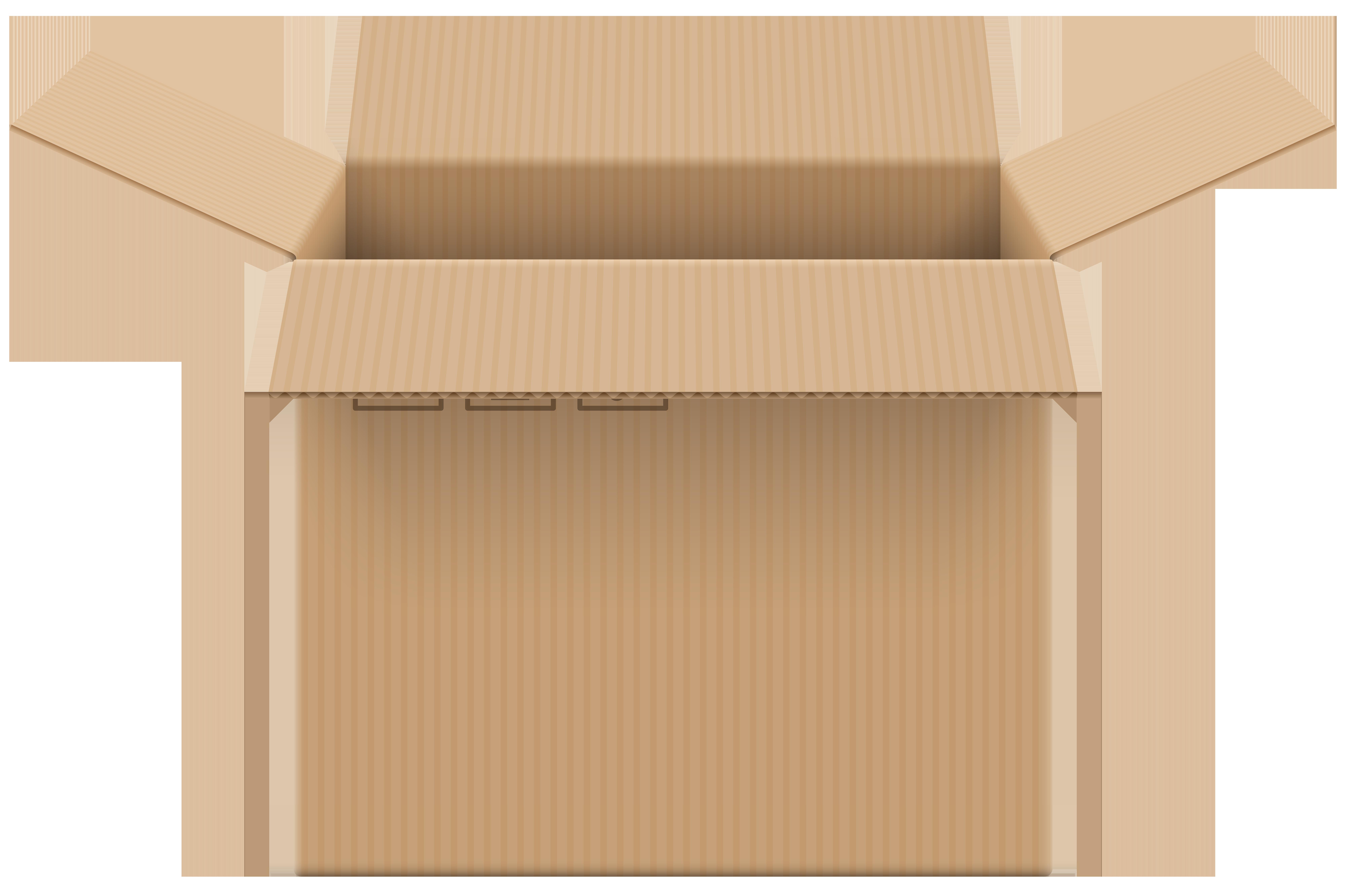 Cardboard Box Open PNG Clip Art.