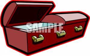 Empty Open Coffin.
