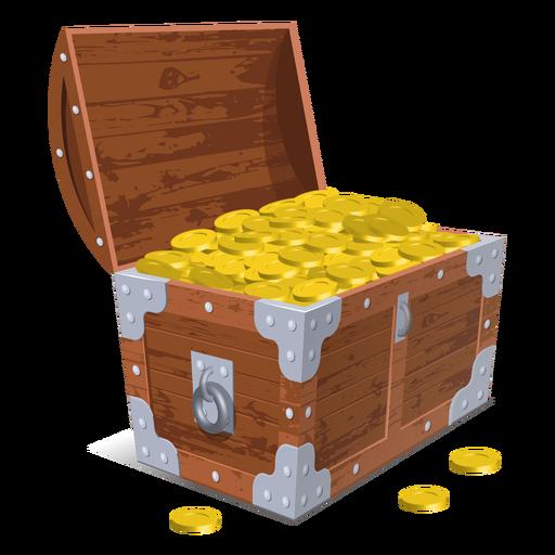 Open treasure chest illustration.