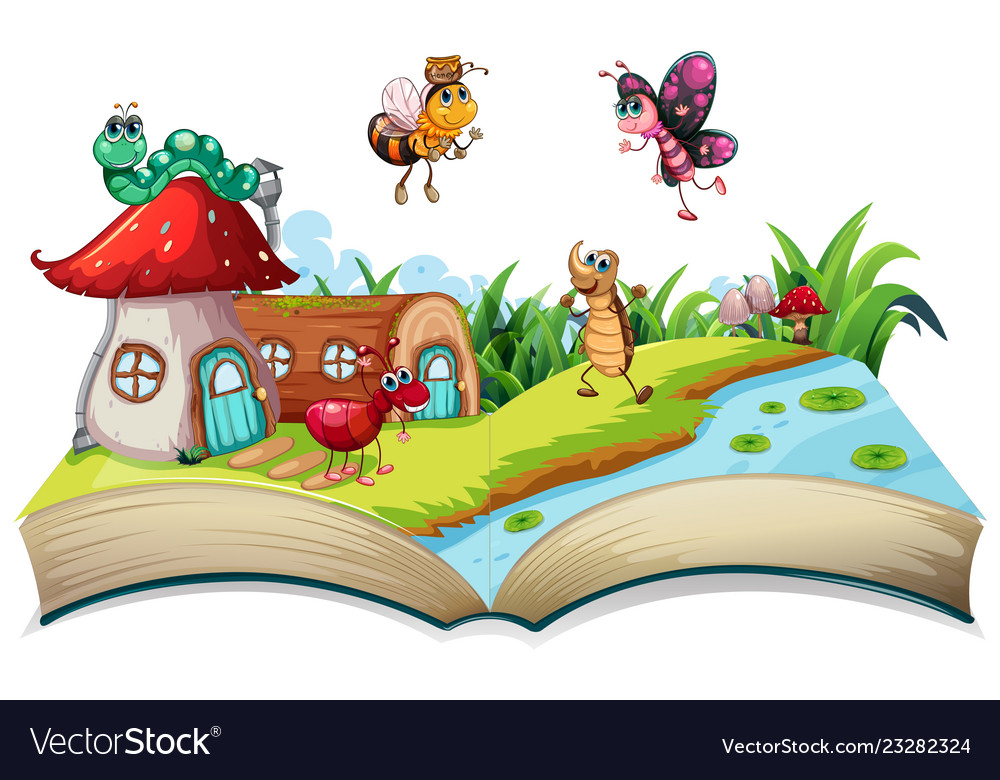 Insect on open book.