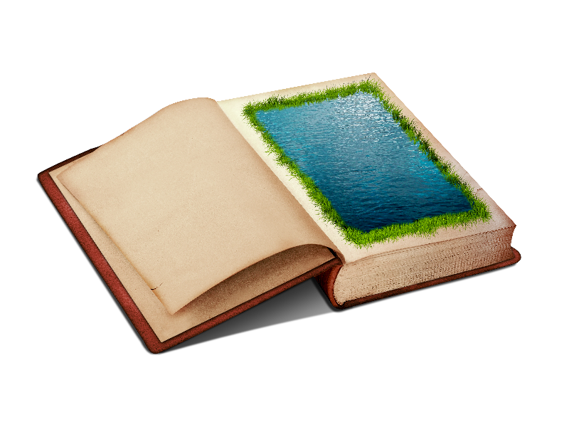 Open Book PNG Clipart With Water Page And Grass Border.