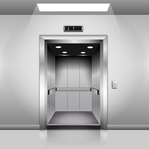 Realistic Empty Modern Elevator with Open Door.