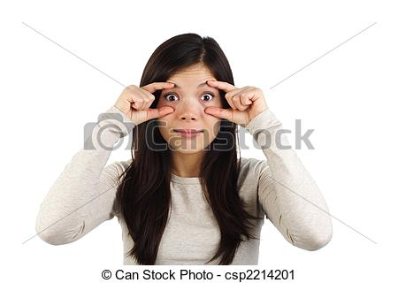 Stock Photography of Stay awake! Surprised woman.