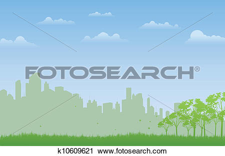 Clipart of Open Field in the City k10609621.