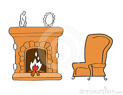 Fireplace With Chair Stock Photography.