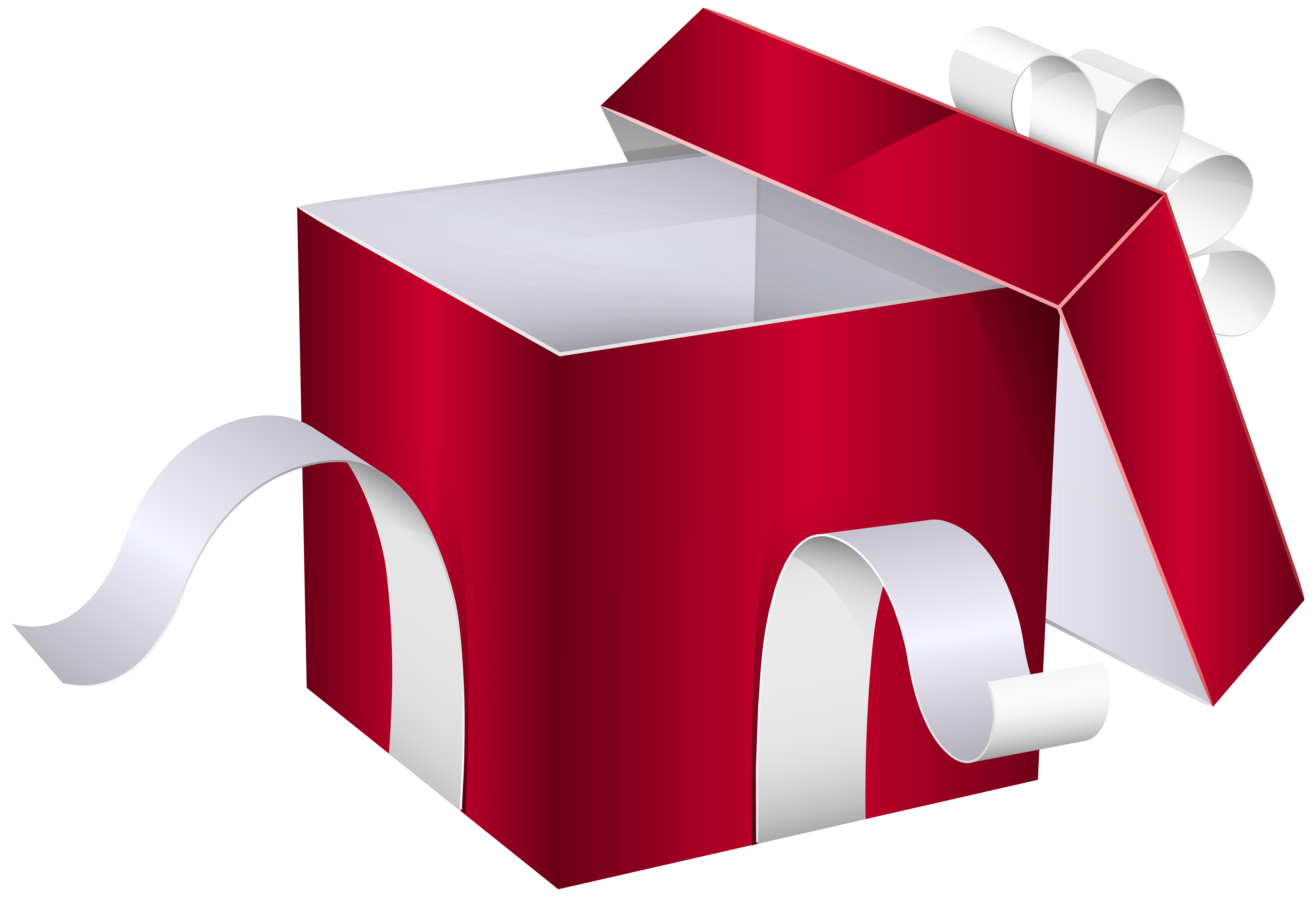 Open Red Gift Box PNG Clipart Image.