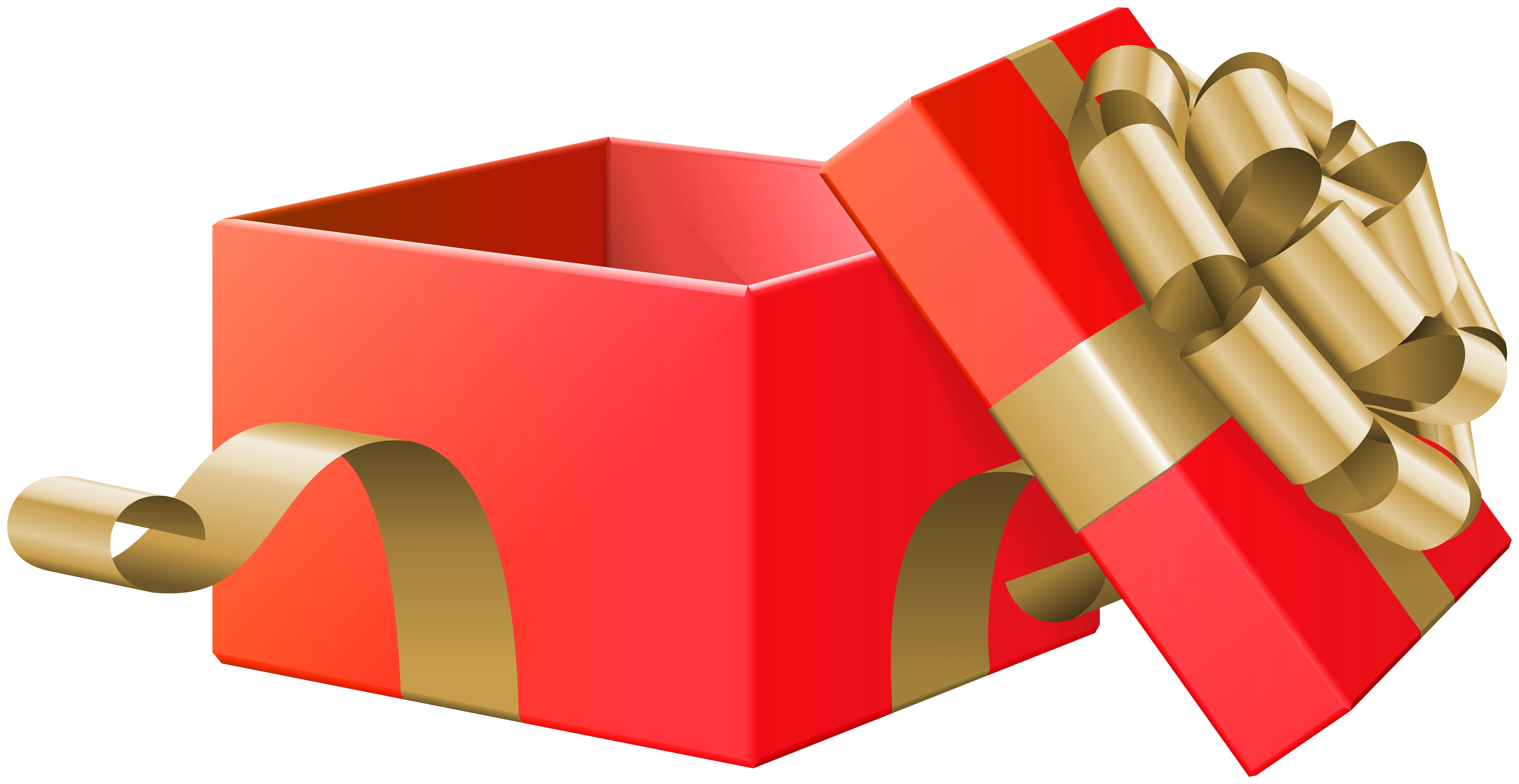 Open Gift Box Red Transparent Clip Art Image.