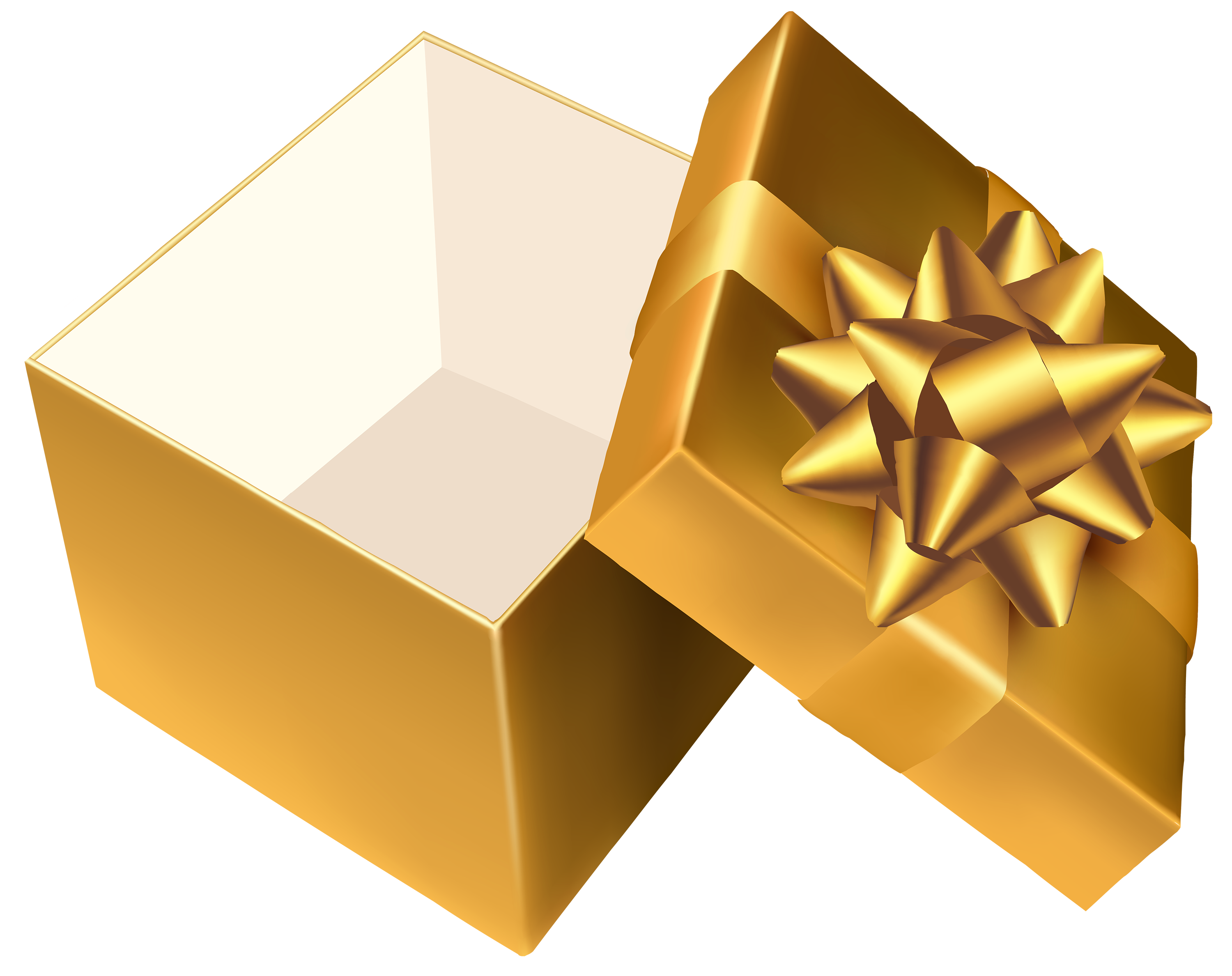 Gold Open Gift PNG Clipart.