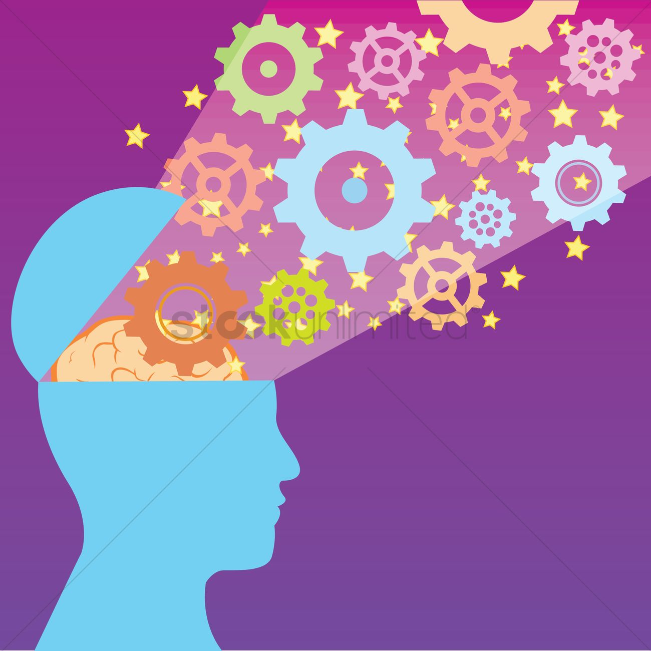 Open head with gears and brain Vector Image.
