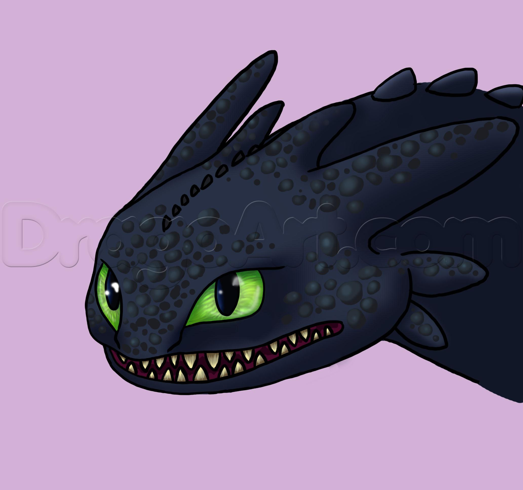 How to Draw Toothless, Step by Step, Dragons, Draw a Dragon.