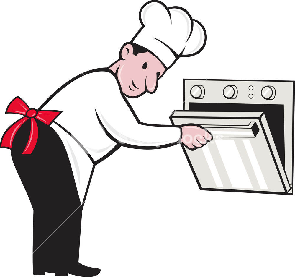 Cartoon Chef Baker Cook Opening Oven Royalty.
