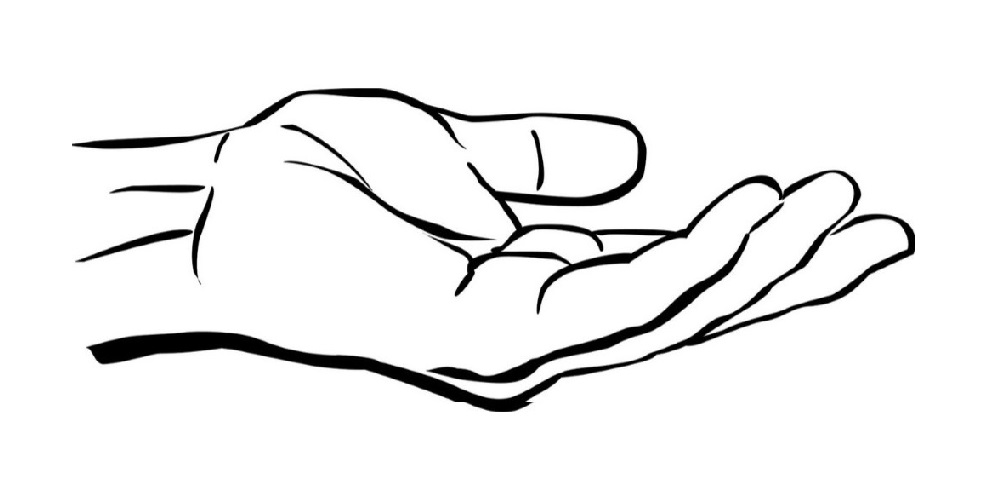 Open Palm Hand Drawing.