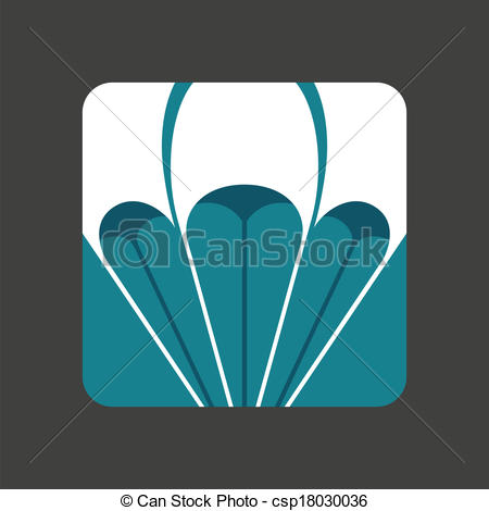 Vectors of Flat icon with a open parachute.