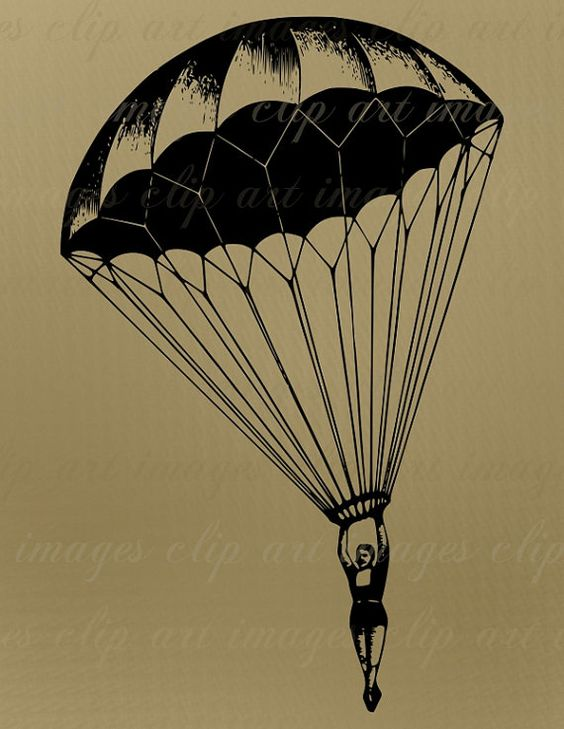 Parachute Clip Art, Vintage, Royalty Free, No Credit Required.