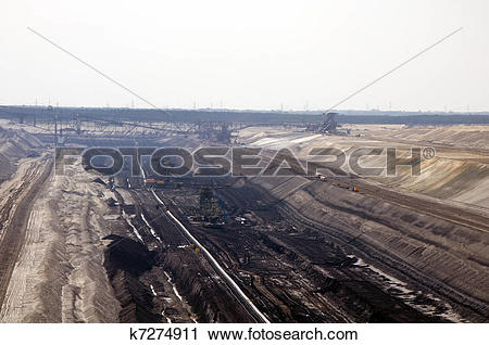 Stock Photography of Open pit coal mine in Jaenschwalde k7274911.
