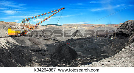 Picture of Dragline on open pit coal mine k34264887.