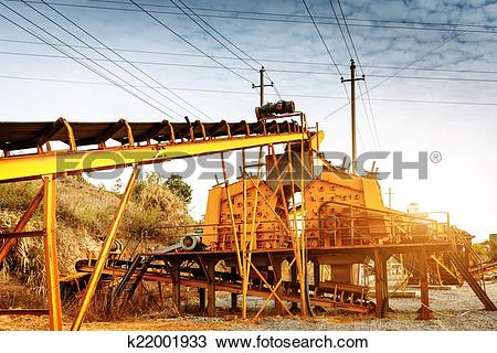 Stock Photo of Open pit mining and processing plant for crushed.