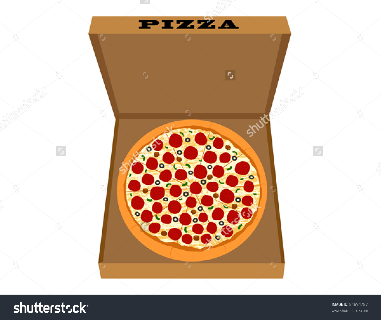 how to draw a pizza box