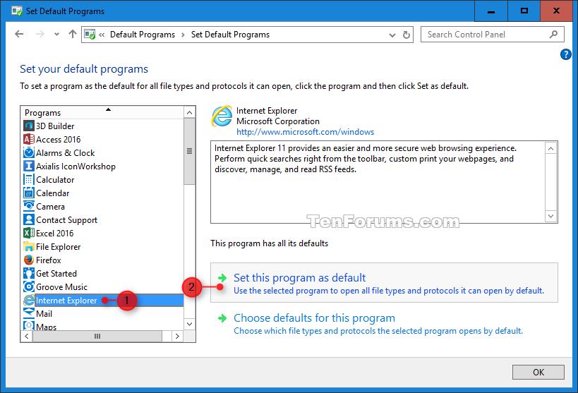 Open Internet Explorer in Windows 10.