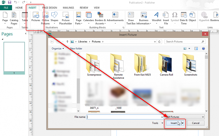 Office Publisher How to open a jpeg file.