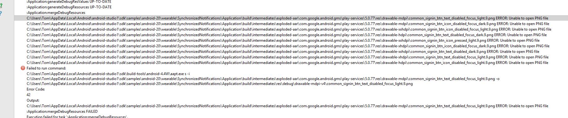 Android Studio Wear App Error.