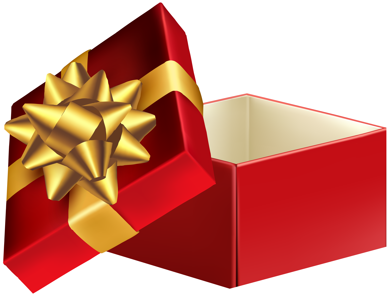 Open Gift Box Transparent PNG Clip Art.