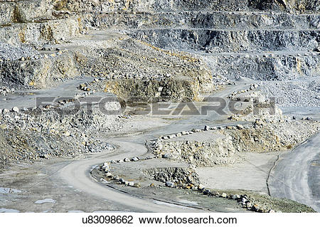 Stock Photo of USA, Maine, Rockland. An open pit granite quarry in.