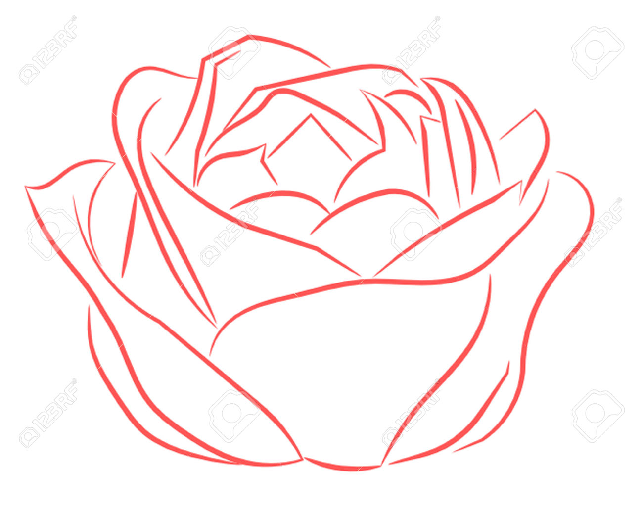 Pink rose outline clipart.