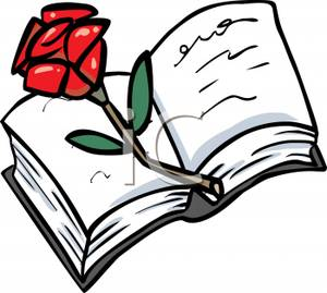 Red Rose on an Open Bible Clip Art Image.