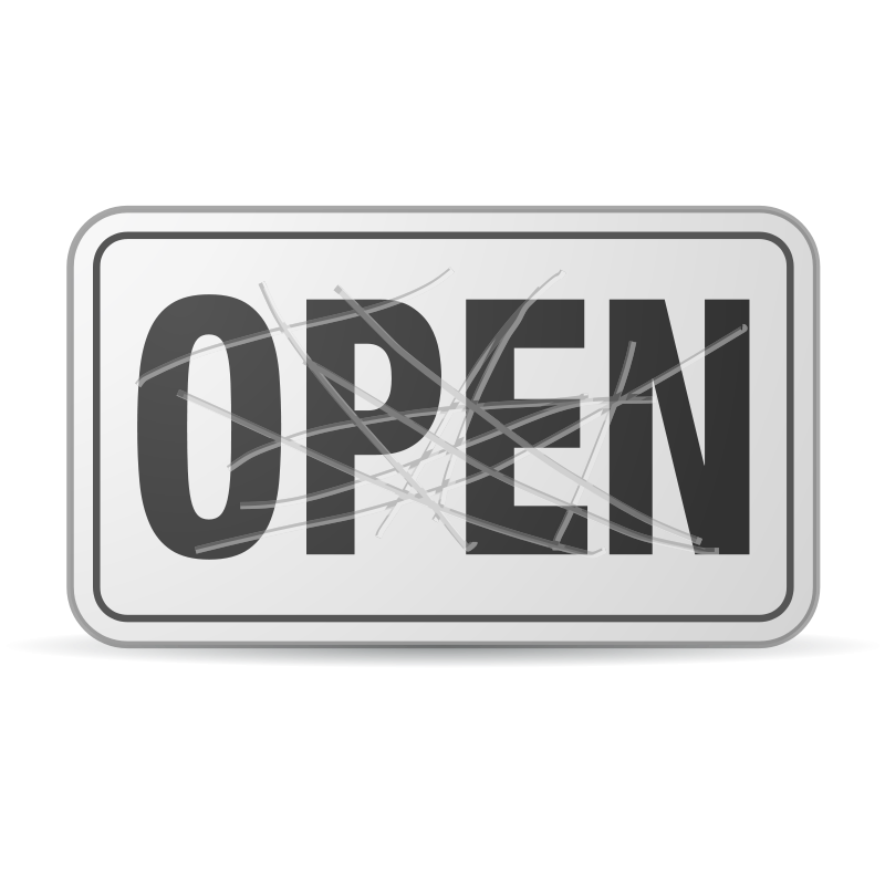 Free Clipart: Scratched Open Sign.