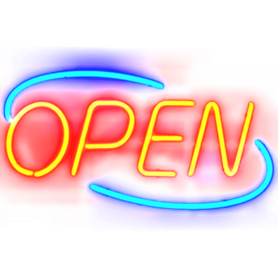 Open Neon Sign transparent PNG.