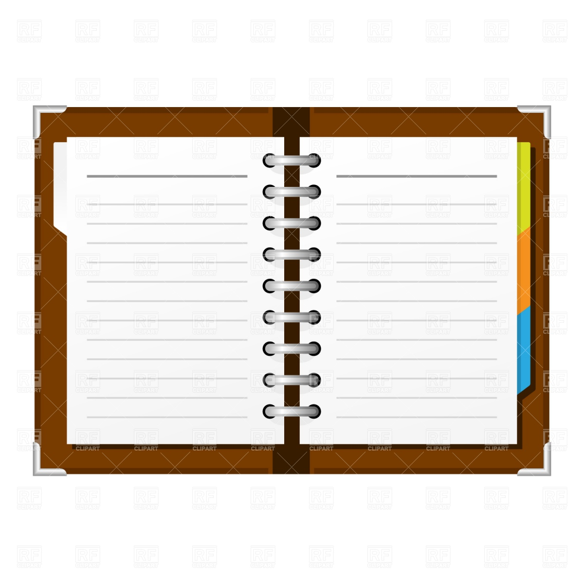 Open spiral notepad Vector Image #1372.
