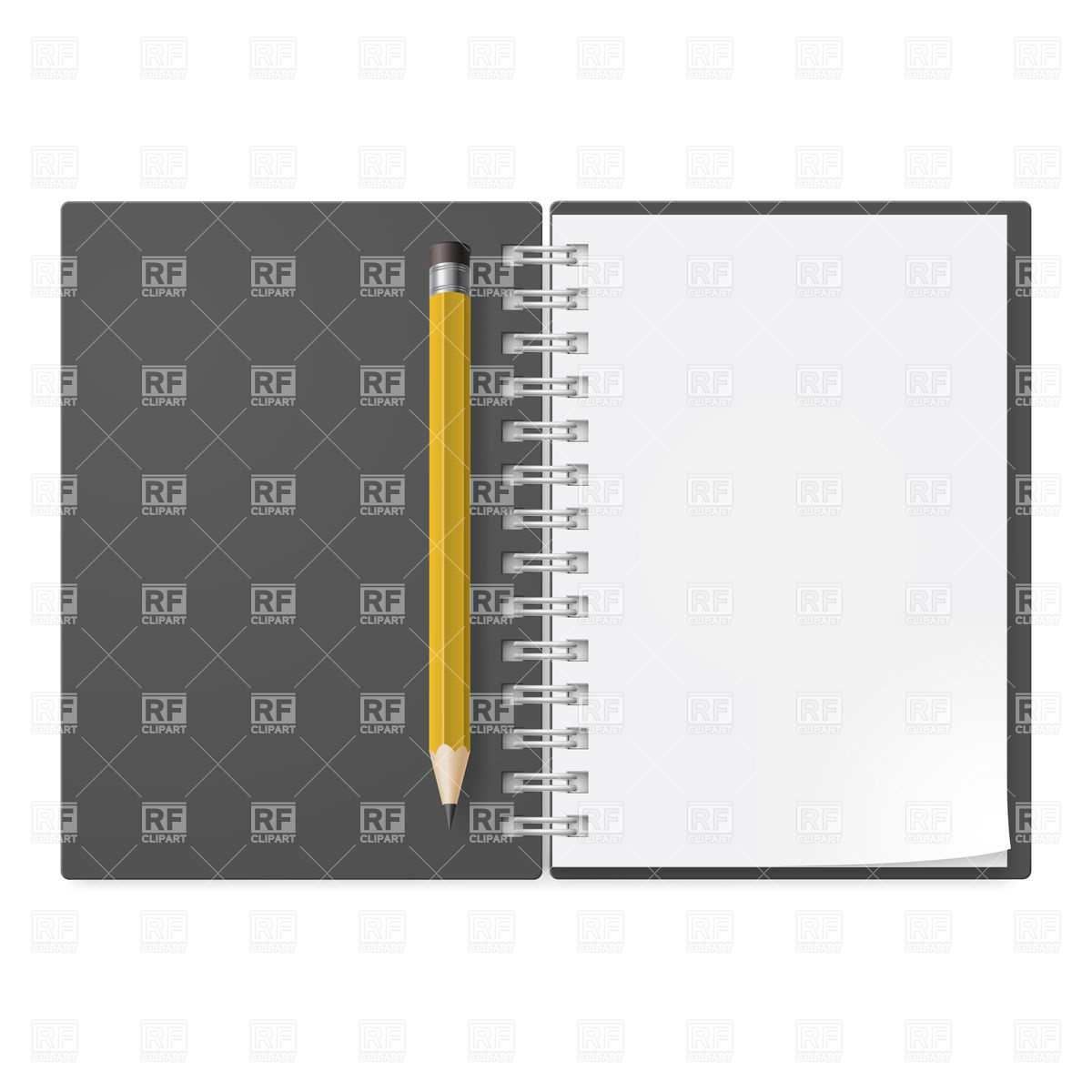 Open spiral notepad with yellow pencil Vector Image #20572.