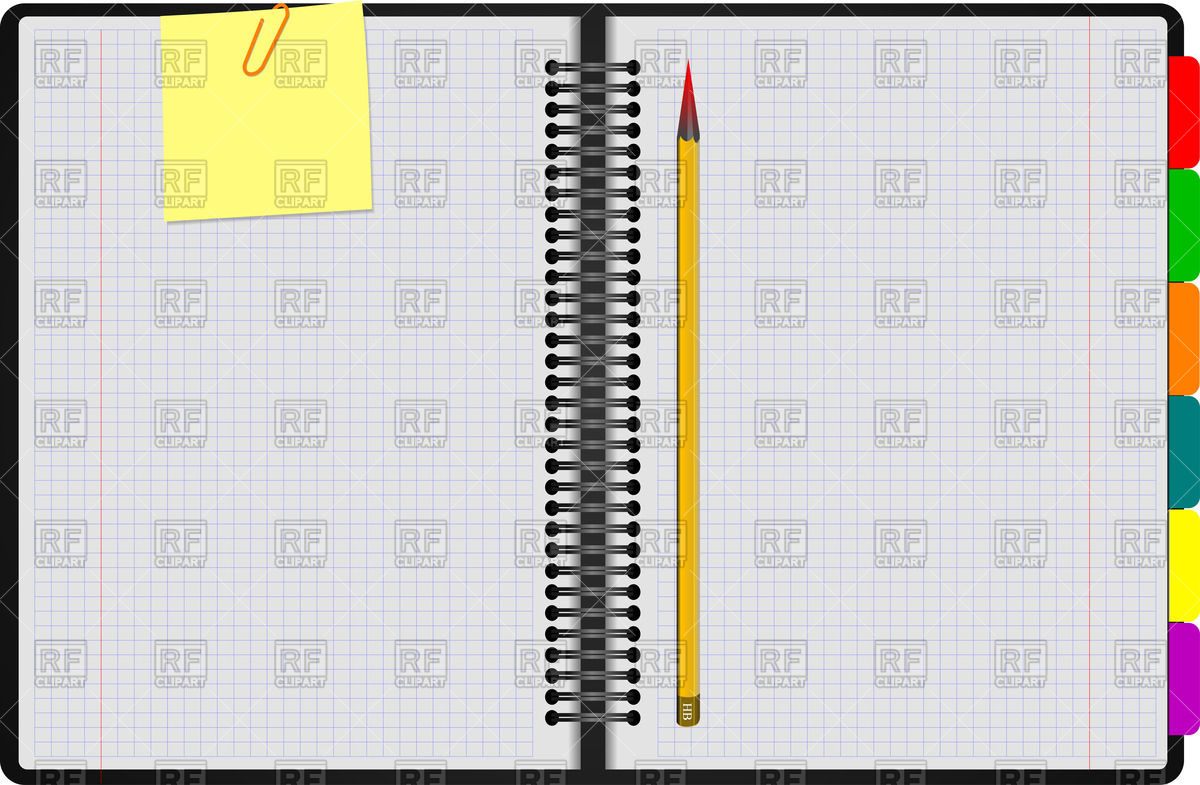 Open spiral notebook with clipped yellow note and pencil Vector.