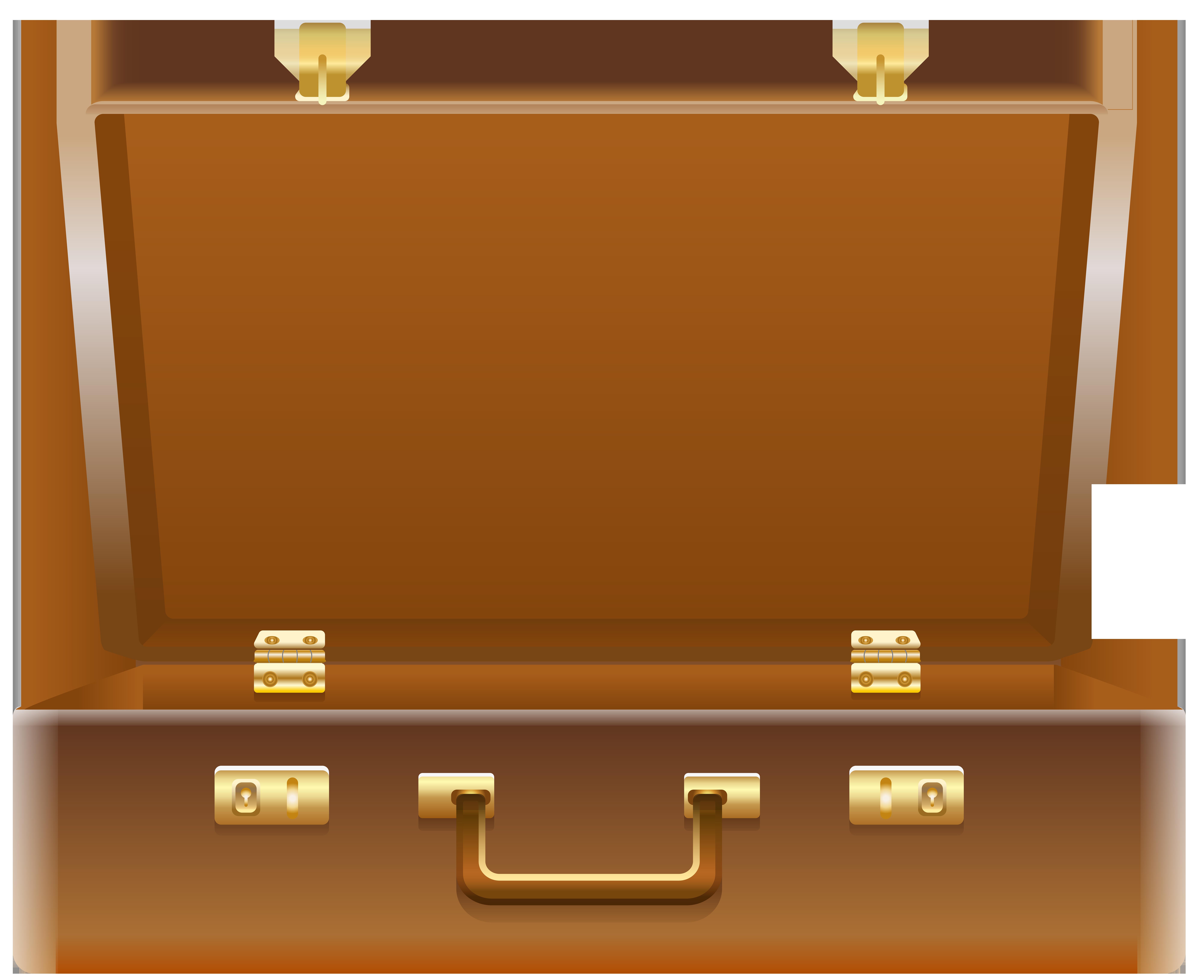 Open Suitcase PNG Clip Art Image.