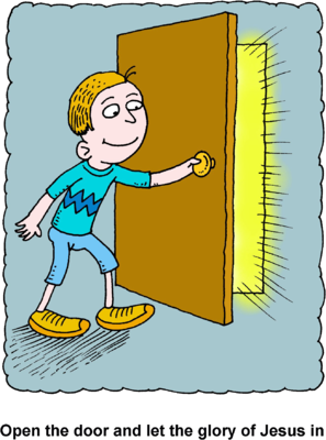 Image: Boy opening door with glorious rays pouring through.