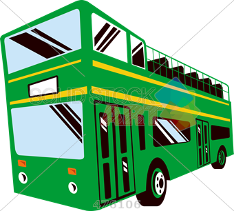 Stock Illustration of Drawing of green double decker bus with open.