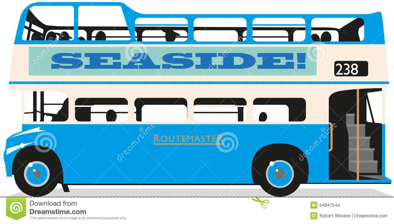 Open Top Bus Stock Illustration.
