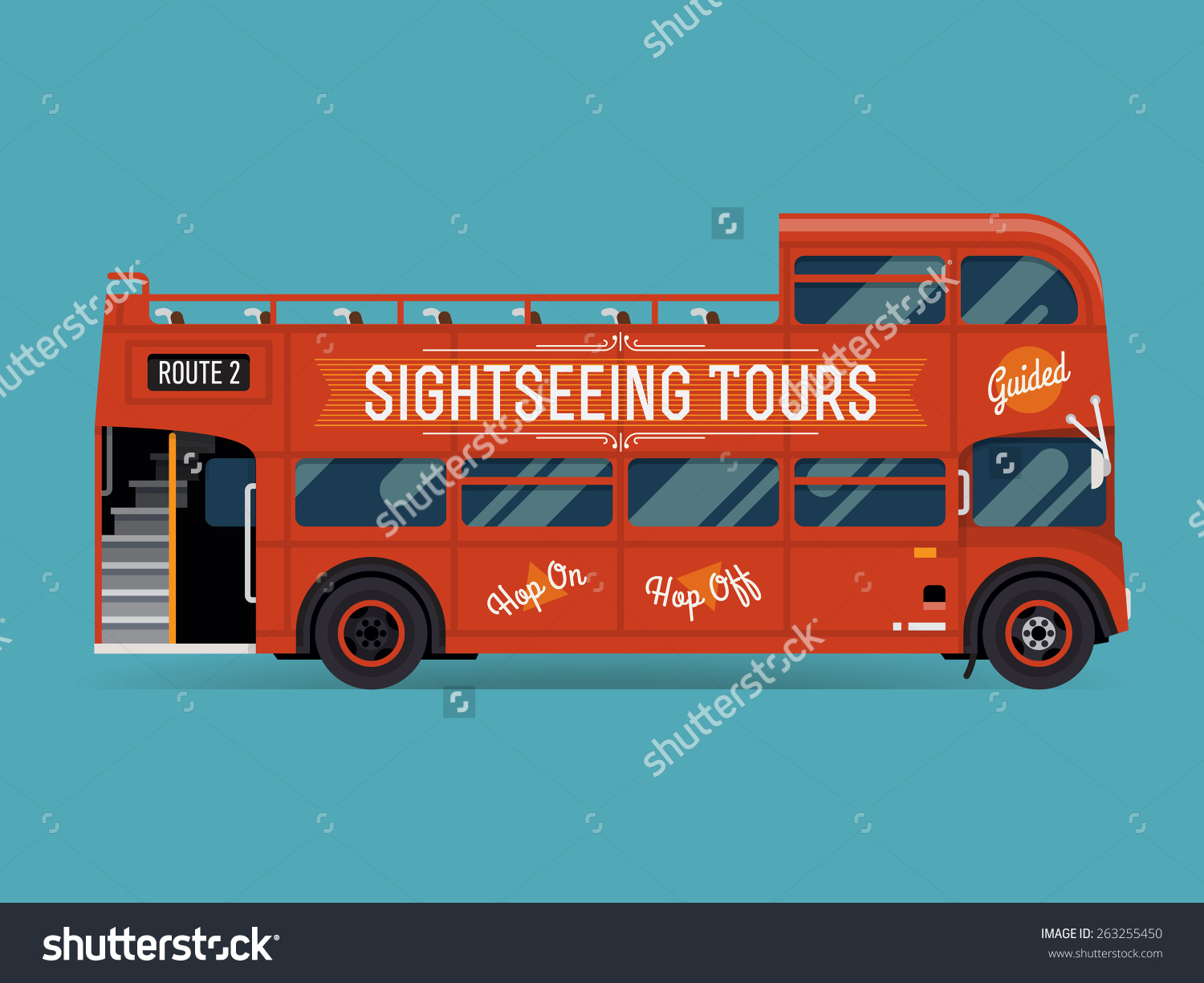 Beautiful Vector Double Decker Red Sightseeing Stock Vector.