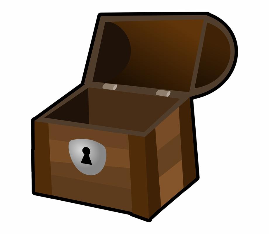 Chest Treasure Box Container Wooden Pirate Open.