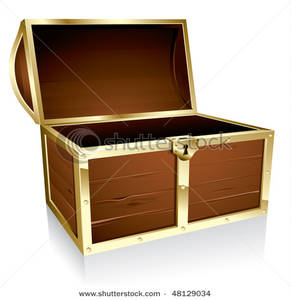 An Open Wood Treasure Chest.