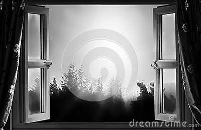 Open Window At Night Clipart.