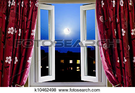 Pictures of Open window to buildings at night k10462498.