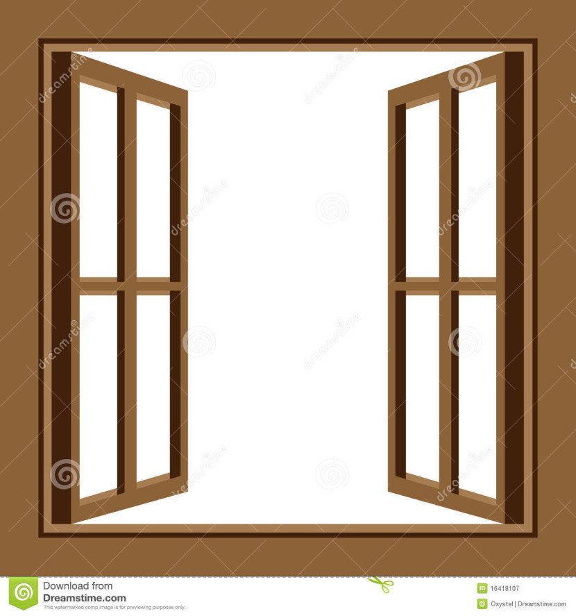 Open Window With Curtain Clipart.