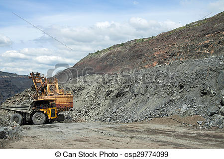 Stock Photographs of Iron ore opencast.
